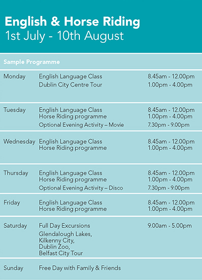 English and Horse Riding Programme