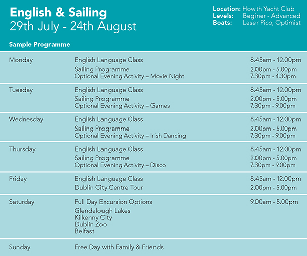 Sailing and English Language Camp