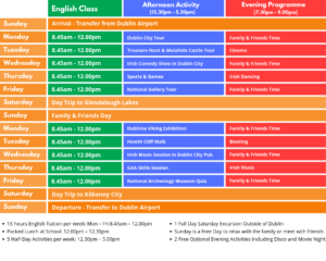 Sample Timetable Classic Junior Summer Camp Ireland