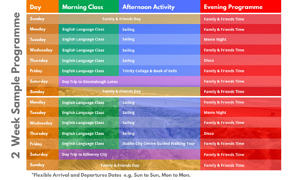 Timetable-Sailing Junior Summer Camp Ireland