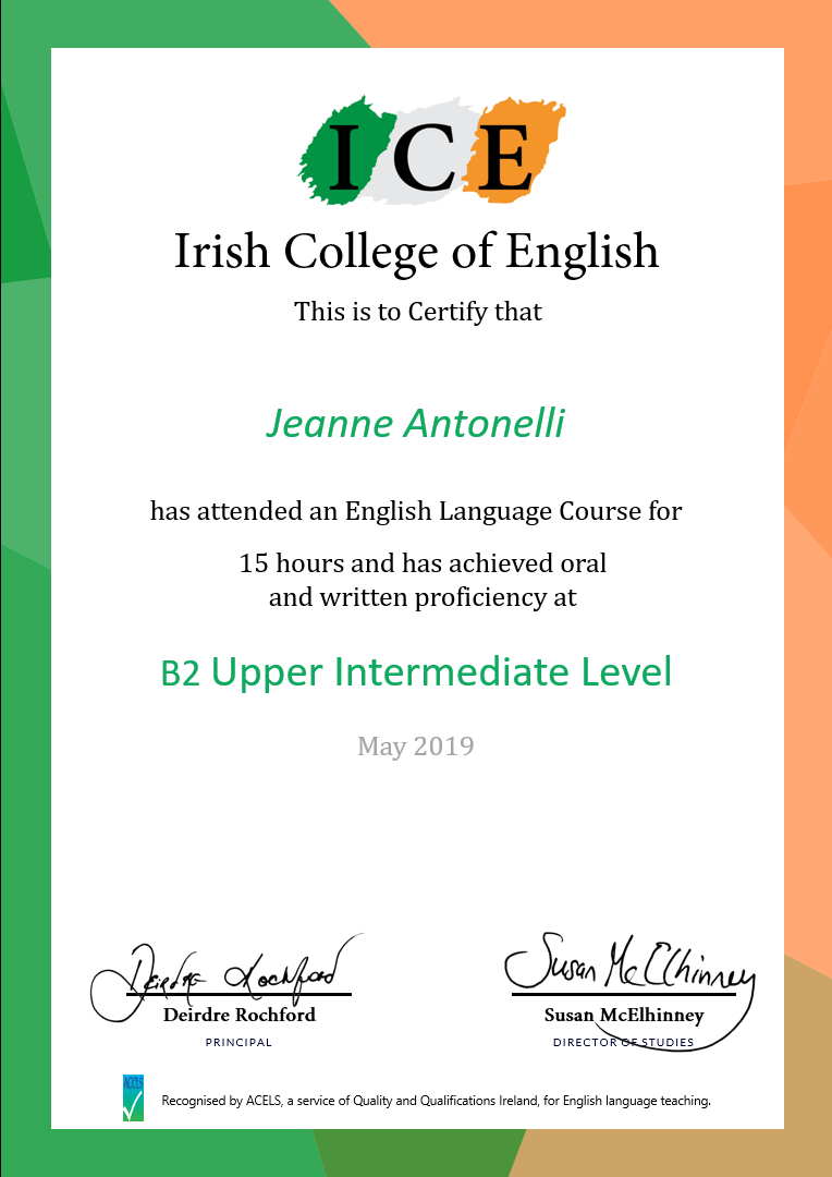 Mini Stay Irish College of English Certificate