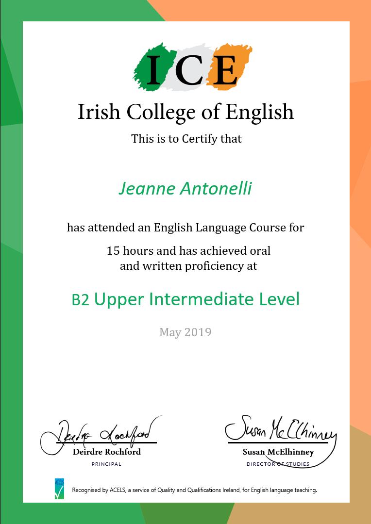 Mini Stay Irish College of English Certificate