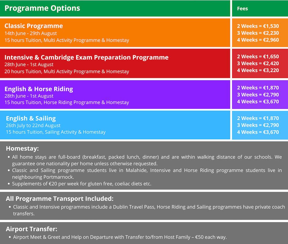 Programme Options Fees junior summer camp 2020