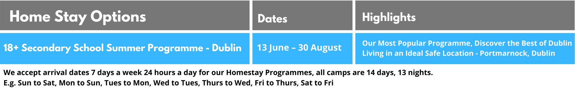 18+ Secondary School Summer Programme - Dublin